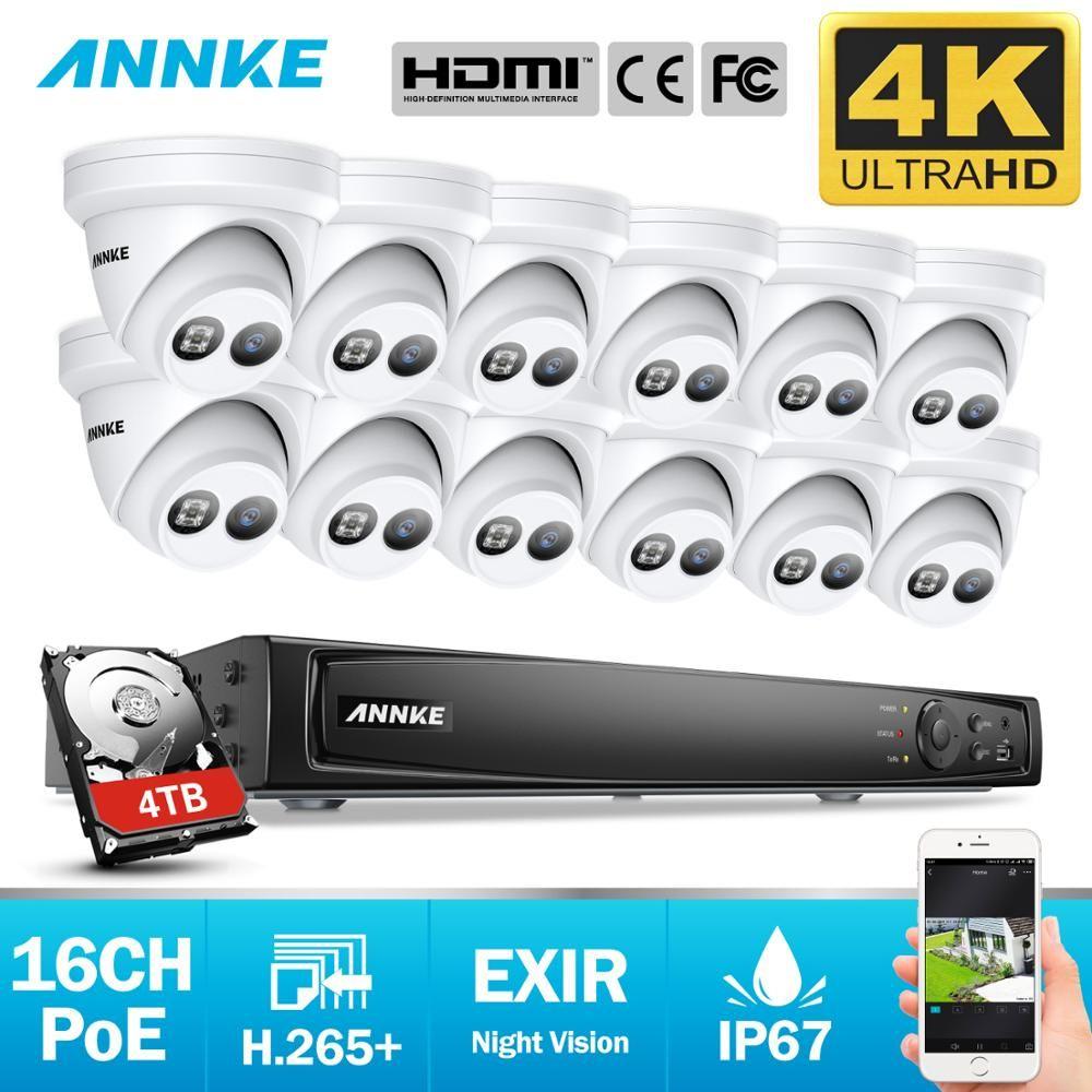 ANNKE 16CH 4K Ultra HD POE Netzwerk Video Security System 8MP H.265 NVR Mit 12X8 megapixel 30m EXIR Nachtsicht Wetterfeste IP Kamera
