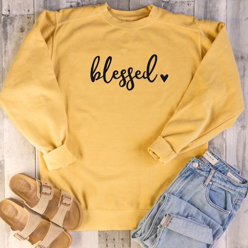 Blessed heart graphic women sweatshirts relgion Christian Bible baptism pure cotton slogan pullovers faith Jesus hipster tops