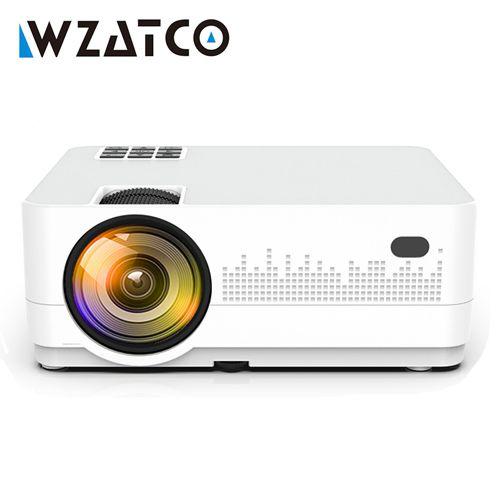 WZATCO HD 720P 150 pouces Portable Mini 3D LCD LED 4k projecteur Android 9.0 WIFI en option Home cinéma jeu film cinéma Proyector