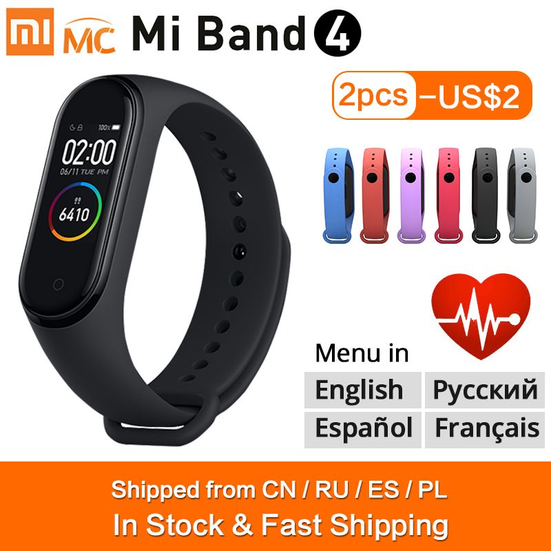Original Xiaomi Mi Band 4 Smart Bracelet Miband 4 Smart Band Fitness Traker Color AMOLED Screen Bluetooth 5.0 Sport Waterproof