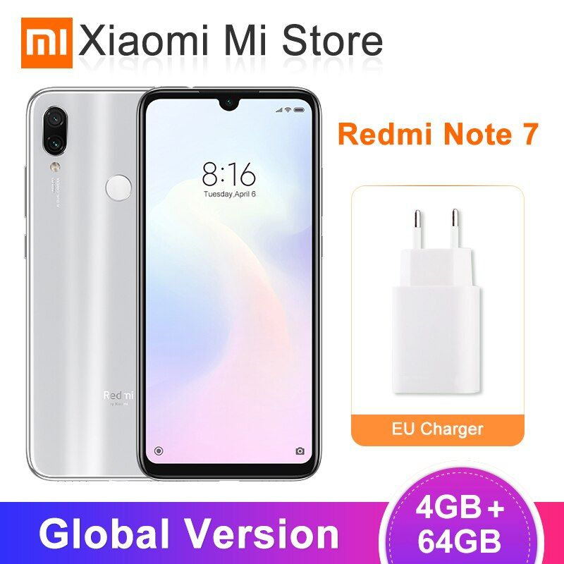 En Stock Version mondiale Xiaomi Redmi Note 7 4 GB 64 GB Smartphone Snapdragon 660 6.3 ''plein écran 48MP + 5MP AI double caméra 4000 mAh