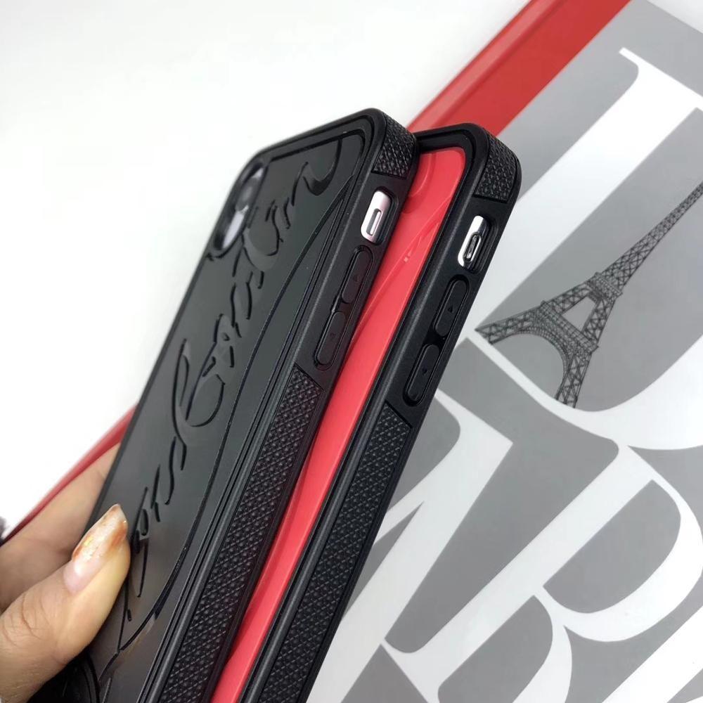 Coque de téléphone de fond de baskets noir rouge pour Apple iPhone X XR XS Max 7 6 8 plus couverture de Signature de mode en Silicone dur de marque de luxe
