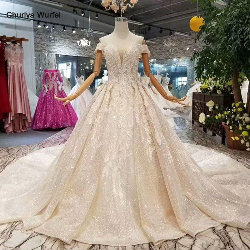 LSS083 shiny spitze bling hochzeit kleider weg von der schulter schatz hochzeit kleider mit langen zug in 2018 bestseller liste