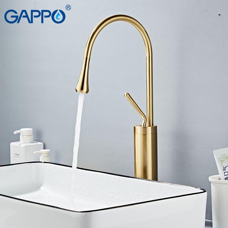 GAPPO nouveau robinet de lavabo moderne en laiton mitigeur salle de bain bassin évier d'eau mélangeur or brosse grands robinets Torneira