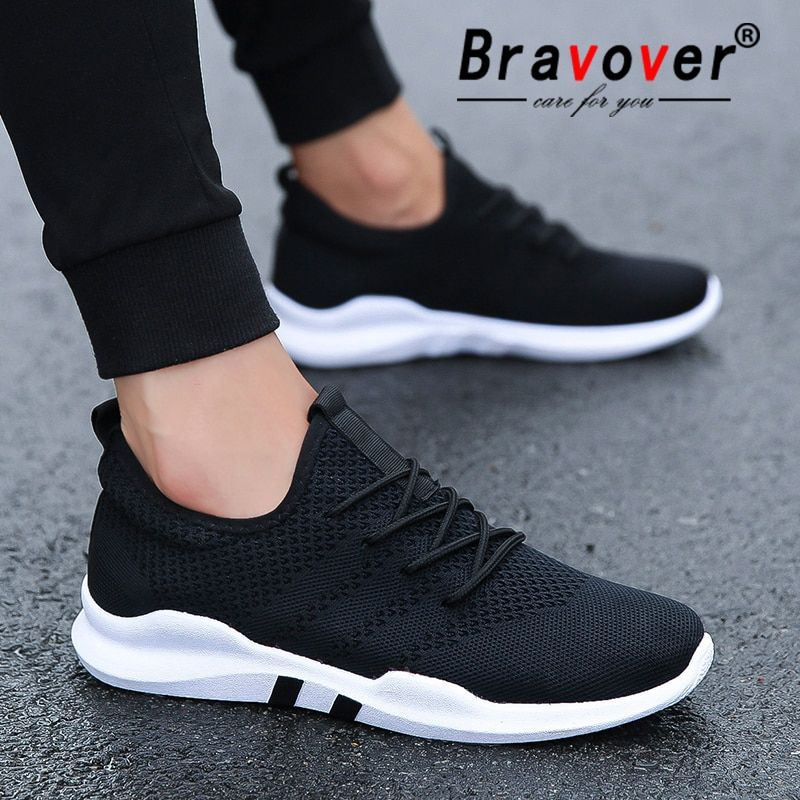 Bravover nouveaux hommes chaussures de course en plein air respirant homme baskets adulte antidérapant confortable maille chaussures de sport 3 couleurs