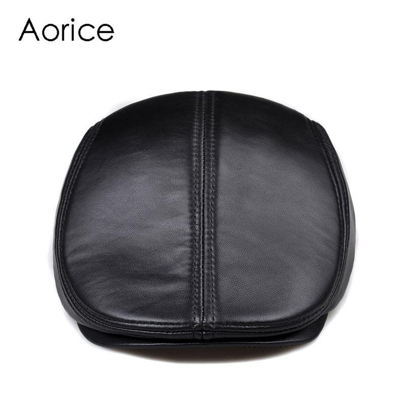 Nouveau Design hommes 100% en cuir véritable mode casquette de Baseball/gavroche/béret/Cabbie chapeau/Golf chapeau plat hommes glisser de haute qualité HL041