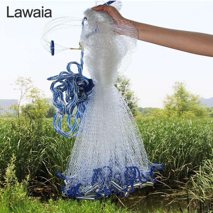 Filet de coulée Lawaia 2.4-7.2m filet de pêche en maille avec pesée/sans filet de pêche en Monofilament moulé