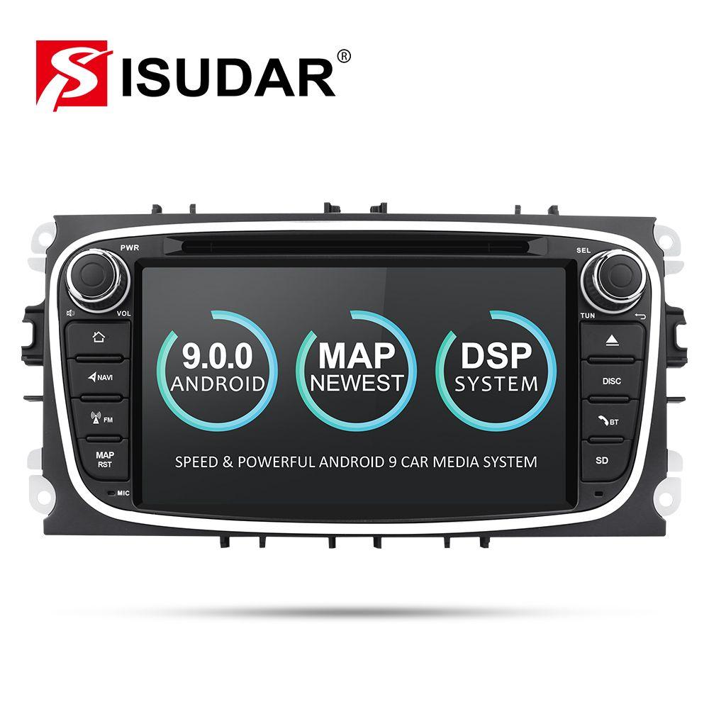 Lecteur multimédia de voiture Isudar Android 9 GPS 2 Din lecteur dvd de voiture pour FORD/Focus/S-MAX/Mondeo/C-MAX/Galaxy wifi autoradio DSP DVR