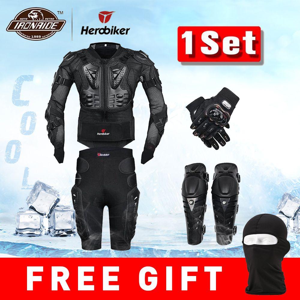 Nouveau Moto Motocross course Moto armure corporelle équipement de Protection Moto veste + short pantalon + Protection genouillères + gants garde