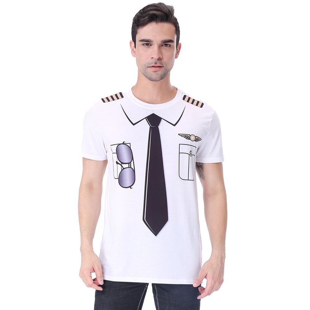 Hommes pilote uniforme 3D drôle T-Shirt mâle Festival T-Shirt adulte fête carnaval Halloween nouveauté Cosplay haut