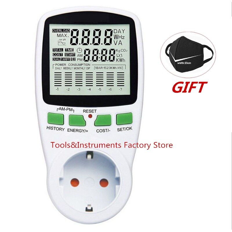 Digital LCD Energy Meter Wattmeter Wattage Electricity Kwh Power Meter EU French US UK AU Measuring Outlet Power Analyzer