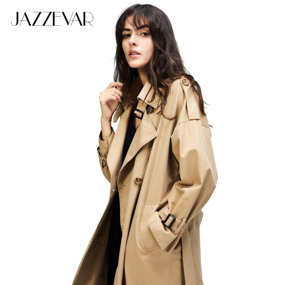 JAZZEVAR 2019 Autumn New Women's Casual trench coat oversize Double Breasted Vintage Washed Outwear Loose Clothing