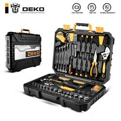 DEKO DKMT128 Socket Wrench Tool Set Auto Repair Mixed Tool Combination Package Hand Tool Kit with Plastic Toolbox Storage Case
