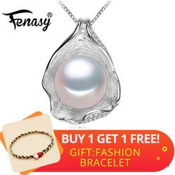 FENASY 925 Sterling Silver Natural Freshwater Pearl Necklace Pendant Shell Design Fashion Pearl Jewelry Necklace For Women New