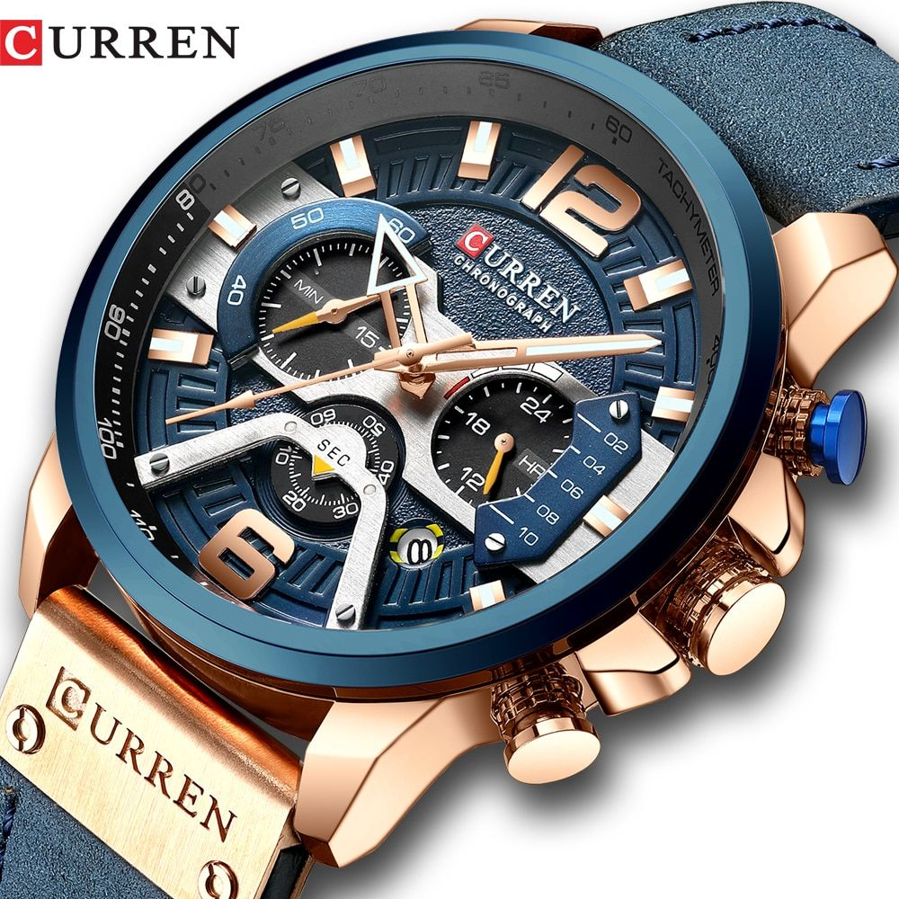 CURREN Casual Sport Watches for Men Blue Top Brand Luxury Military Leather Wrist Watch Man Clock Fashion Chronograph Wristwatch