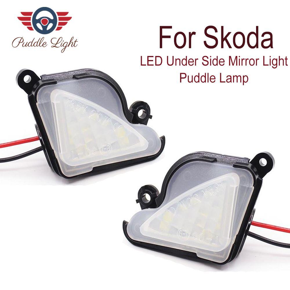 2x6000 K blanc LED sous miroir latéral lumière flaque lampe pour skoda Octavia Mk3 5E 2012-2017 Superb 2 Octavia 3