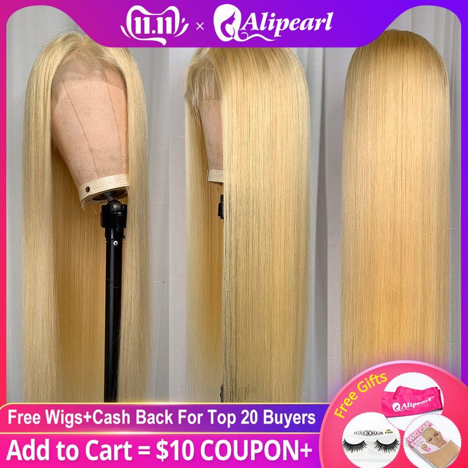 Blond Volle Spitze Menschliches Haar Perücken Für Schwarze Frauen Pre Gezupft Brasilianische Gerade Farbige Menschliches Haar Perücken AliPearl Haar