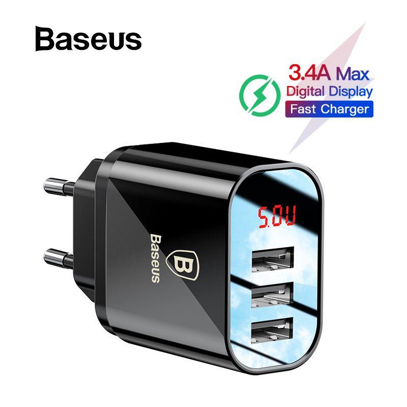 Baseus affichage numérique chargeur USB pour Samsung Xiaomi chargeur de téléphone 3.4A Max chargeur rapide pour iPhone chargeur adaptateur