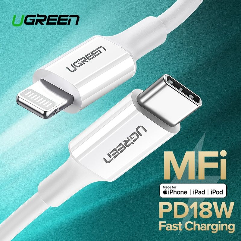 Ugreen MFi USB Type C to Lightning Cable for iPhone 11 Pro 11 Pro Max X XS Max XR 8 8 Plus iPad Pro PD 18W Cable Fast Power Deli