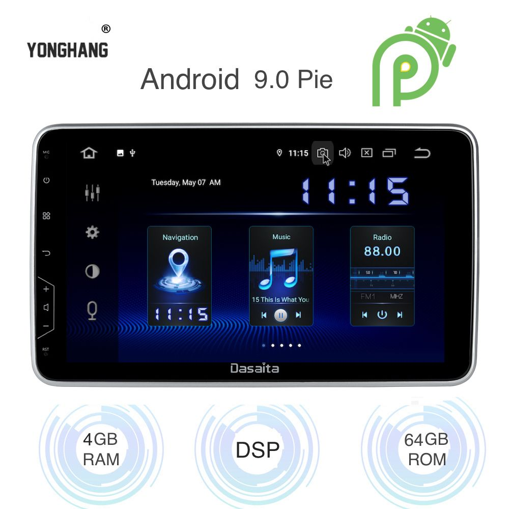 Android 9.0 Auto 2 Din GPS Radio Universal Winkel Einstellbare 10,2 IPS Full Screen Multimedia 4Gb + 64Gb HDMI DSP WIFI BT RDS Karte