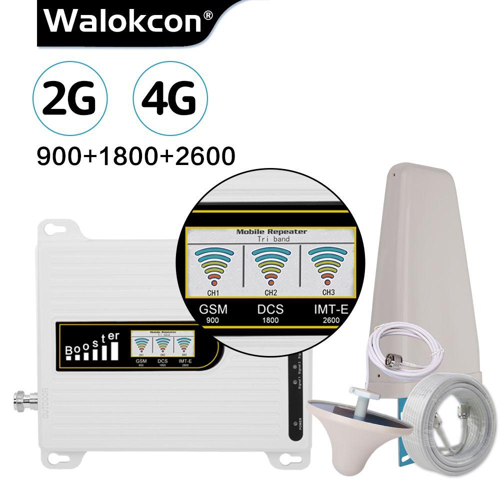 Walokcon 2019 NEUE Version GSM Repeater 2g 4g 900/1800/2600 MHz Cellular Booster GSM DCS LTE 4G Verstärker 70dB Gain Antenne Set