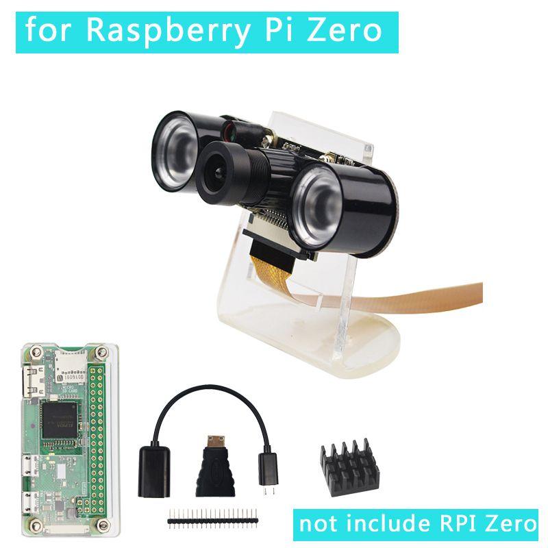 7 en 1 Raspberry Pi Zero W caméra + support + boîtier acrylique + dissipateur de chaleur + Mini adaptateur HDMI + en-tête GPIO + câble USB RPI caméra