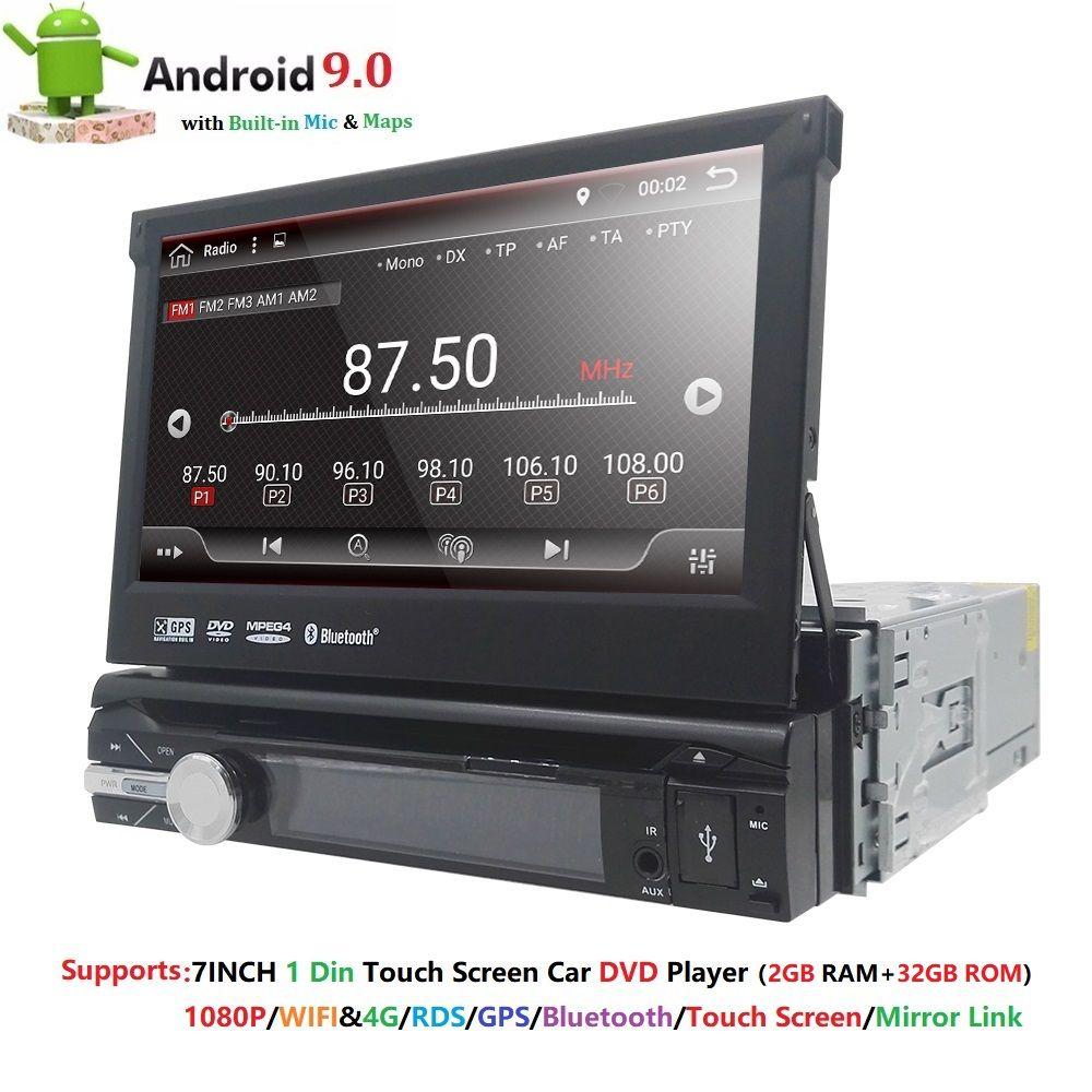 Universal 1 din Android 9.0 Quad Core Auto DVD player GPS Wifi BT Radio BT 2GB RAM 32GB SD 16GB ROM 4G SIM LTE Netzwerk SWC RDS CD