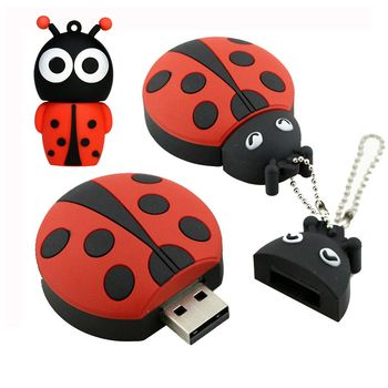 USB Flash Drive 8G Cute Animal Ladybug USB Pen Drive 32G Pendrive 16GB USB Memoria Stick Beetle Flash Memory Stick Drive Storage