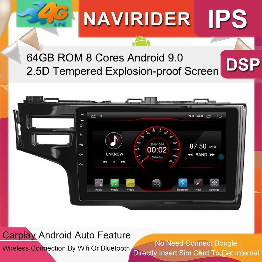 Auto Multimedia Player 9inch IPS Screen Monitor GPS band recorder Bluetooth Android 9.0 Für HONDA FIT jazz Zwei löcher Auto audio