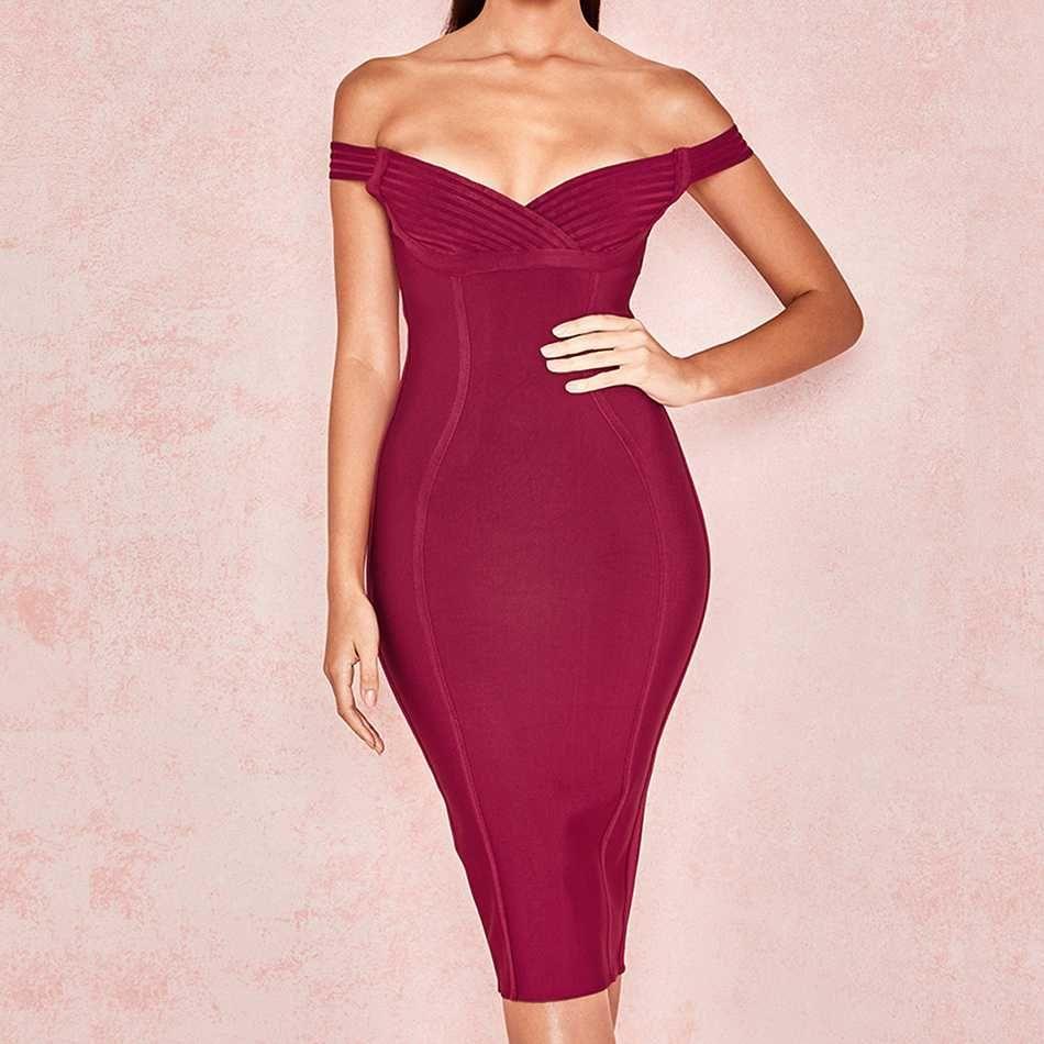 Couturière nouveau 2019 femmes Bandage robe Sexy hors de l'épaule moulante soirée Club robes de soirée célébrité été robe de piste