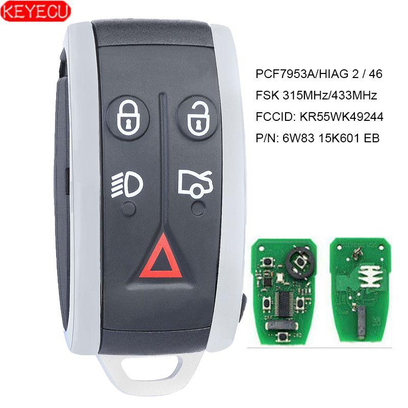 KEYECU Smart Remote Schlüssel 315 MHz/433 MHz PCF7953A 5 Taste für Jaguar XF XFR XK XKR 2009 2010 2011 2012 2013-FCC: KR55WK49244