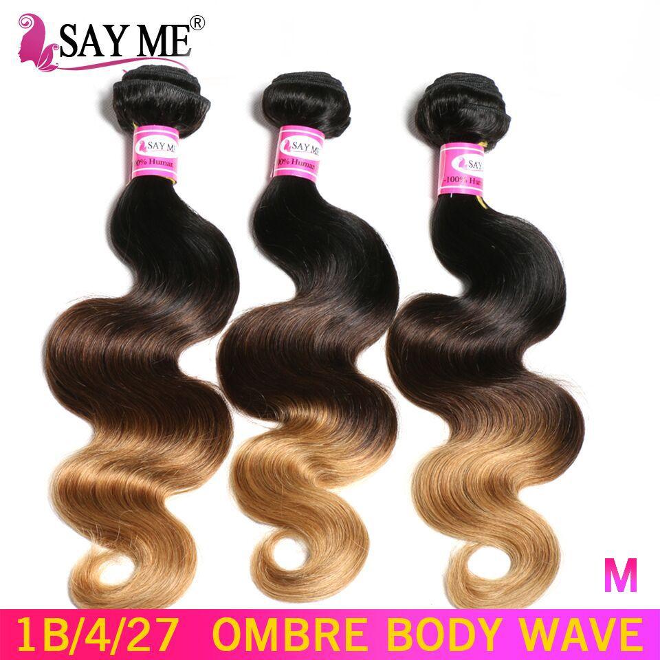 Ombre vague de corps 3/4 paquets traiter cheveux brésiliens armure faisceaux 1b/4/27 non-remy miel blond Extensions de cheveux humains rapport moyen