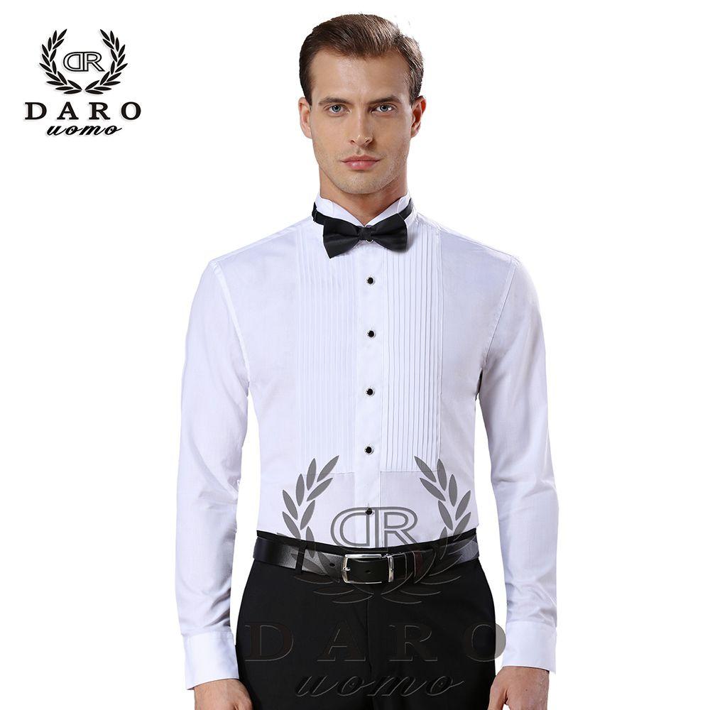 Nouveauté mode coton chemises pour hommes à manches longues couleur pure homme chemise de smoking camisas hombre DR883