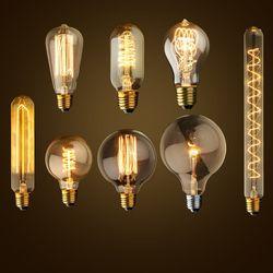 Vintage Edison Bulb E27 ST64 T10 T45 G80 G95 40W Chandelier Pendant Lights 220V LED Lamp Incandescent Light Rope Lamp Holder E27