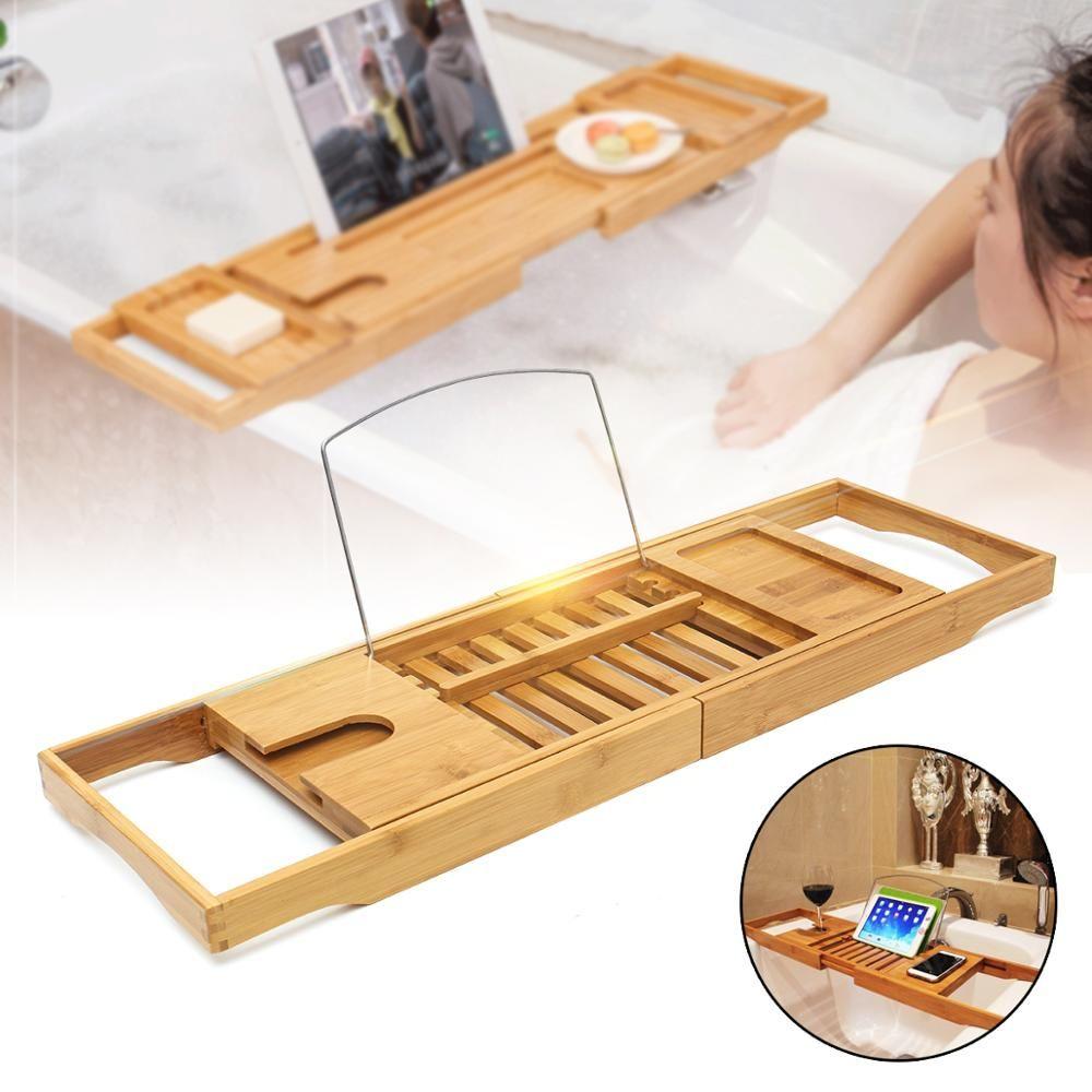 Étagère de salle de bain extensible plateau de baignoire douche Caddy bambou baignoire support serviette vin support de livre rangement organisation accessoires