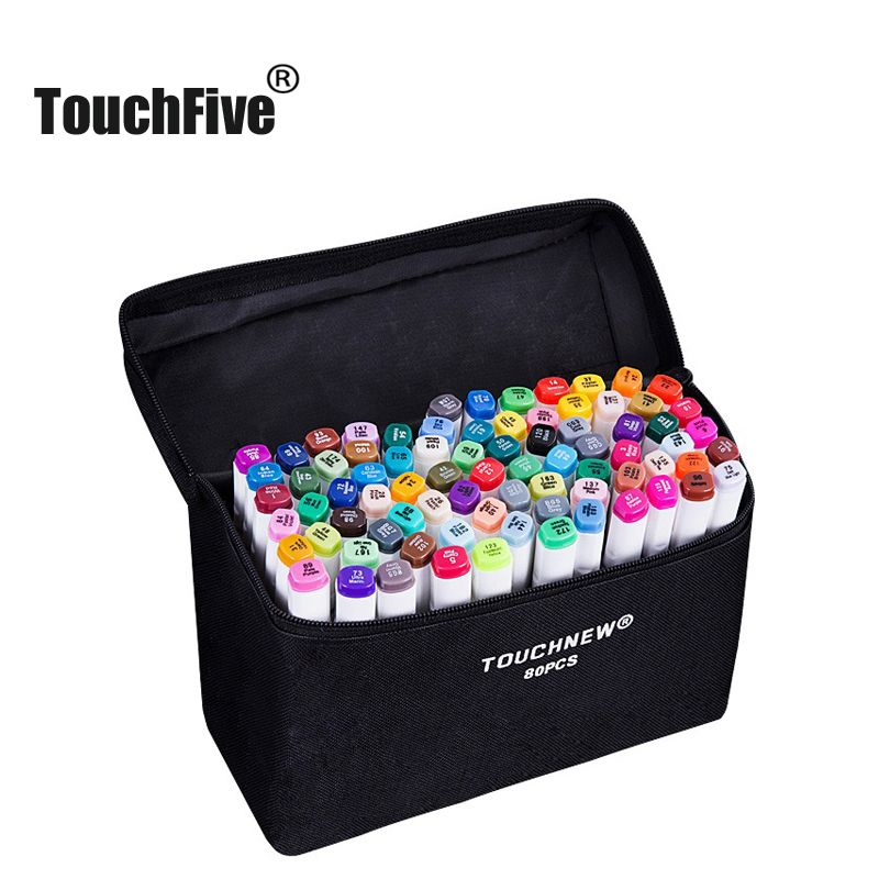 TouchFIVE art markers sets 30/40/60/80/168Colors Anime student design sketch manga  Alcohol Marker Pen For Drawing(White pen)