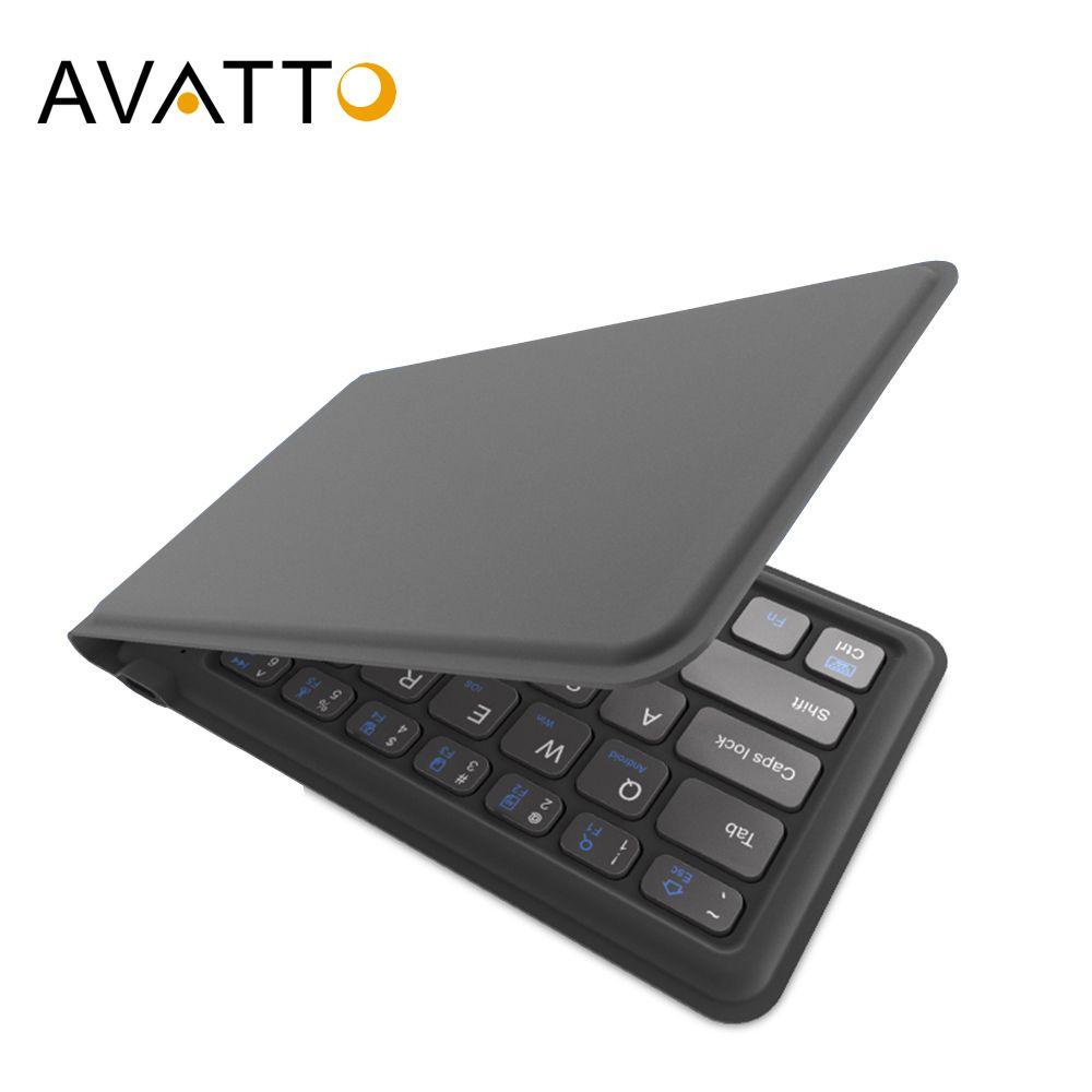 AVATTO A20 Portable en cuir pliant Mini clavier Bluetooth pliable clavier sans fil pour iphone, téléphone android, tablette, ipad, PC