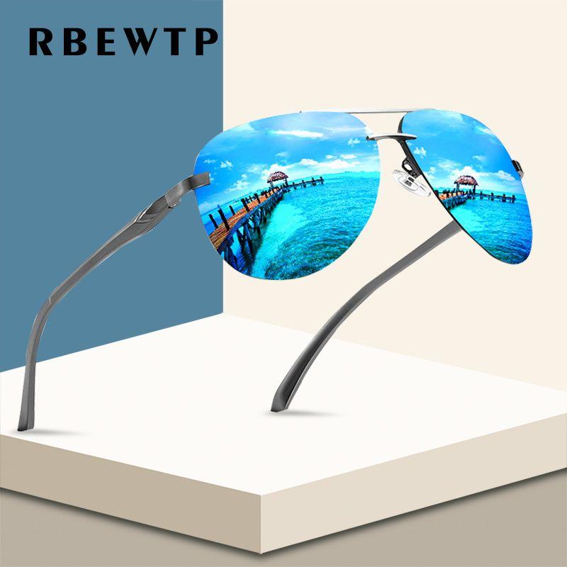RBEWTP nouveau 2019 alliage cadre classique pilote hommes lunettes de soleil revêtement polarisé miroir cadre lunettes aviation lunettes de soleil pour les femmes