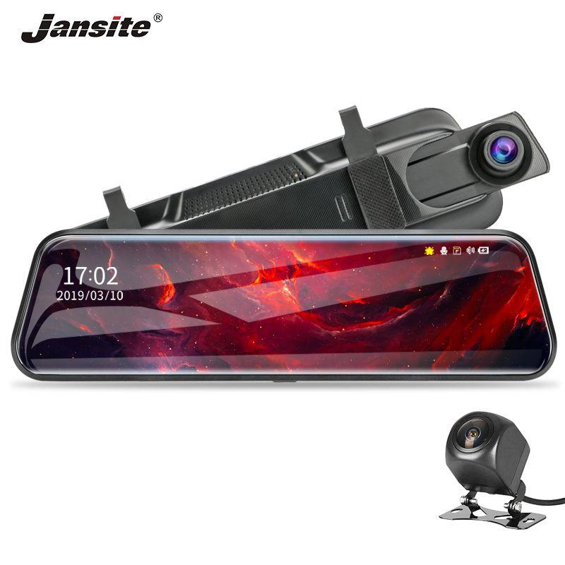 Jansite 10 écran tactile 1080P voiture DVR Dash caméra double lentille Auto caméra enregistreur vidéo rétroviseur avec caméra de sauvegarde 1080p