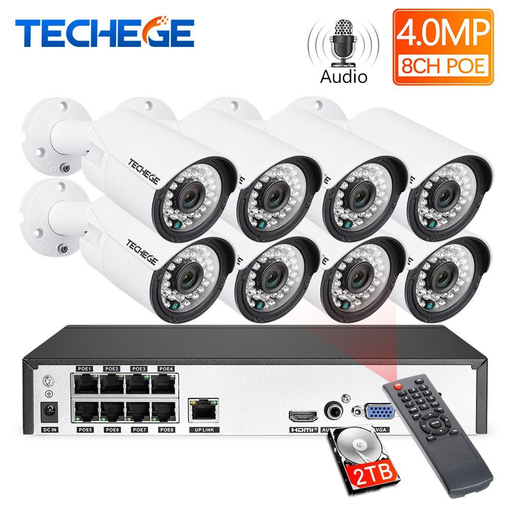 Techege H.265 8CH 4MP système de caméra de vidéosurveillance Audio extérieur étanche Surveillance Kit NVR Kit de caméra de sécurité PoE détection de mouvement