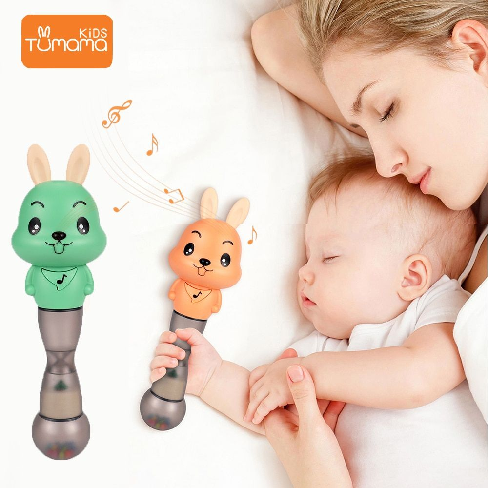 Tumama Baby Rattles 4 in 1 Music Sand Hammer Toy Baby Toys Flashing Educational Toys For Babies Early Learning Toys For Newborns