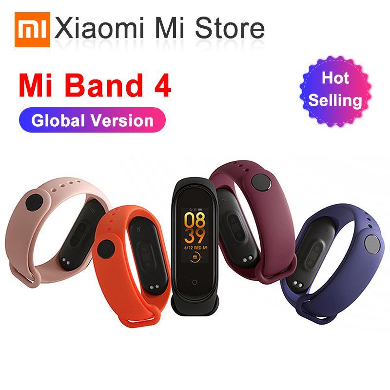 En Stock Original plus récent Xiao mi band 4 Bracelet fréquence cardiaque Fitness Bluetooth 5.0 couleur écran 135 mAh 50 M natation mi ng étanche