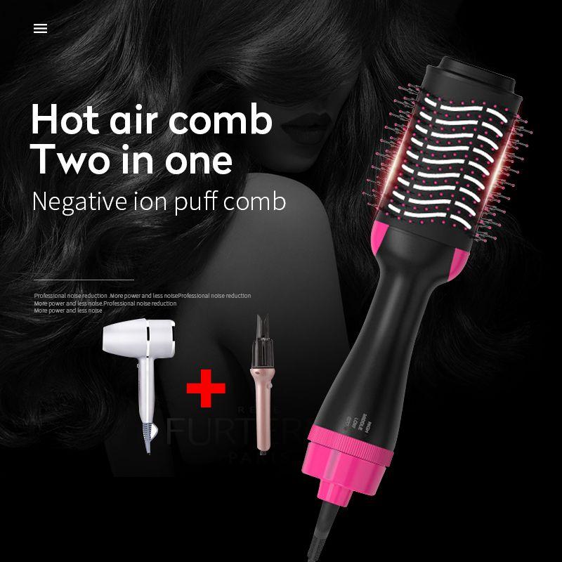 2 in 1 Hair Dryer Brush Hot Air Comb Electric Hair Curler Hair Straightener Brush Negative Ion Hot Hair Styler Comb