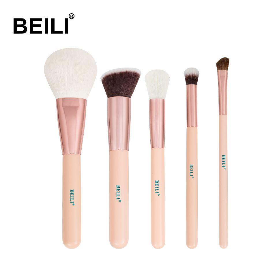 BEILI Rose doré 5 pièces maquillage pinceau ensemble Vol.1 poudre Contour correcteur ombre à paupières maquillage outil Rose poignée