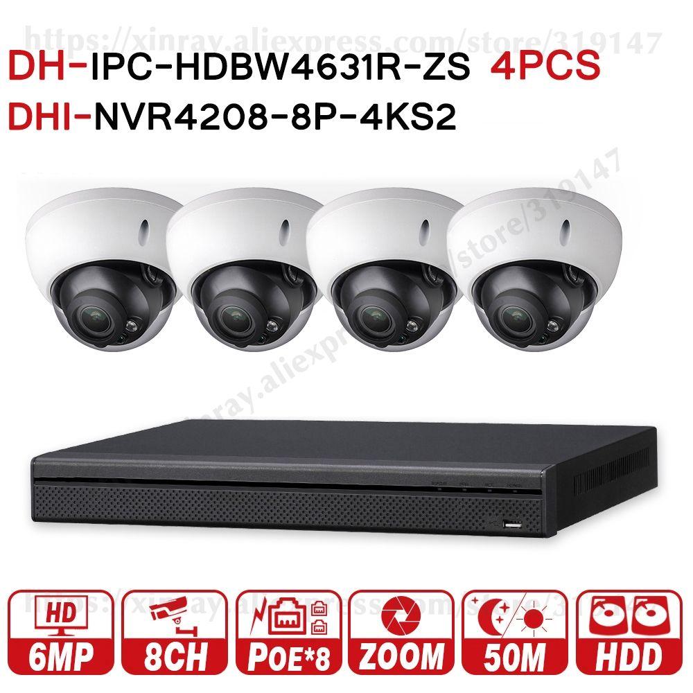 Dahua 6MP 8 + 4 Sicherheit CCTV-System 4Pcs 6MP POE Zoom IP Kamera IPC-HDBW4631R-ZS & 8POE 4K NVR NVR4208-8P-4KS2 Überwachung Kits