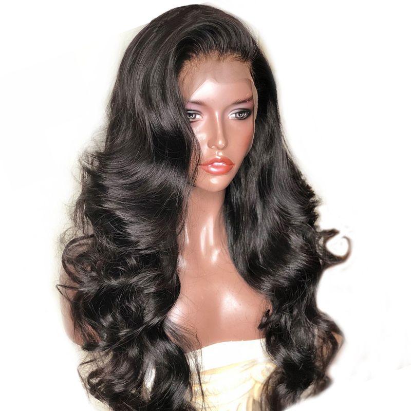 250 densité 13X6 dentelle avant perruques de cheveux humains avec frange pour les femmes noir corps vague dentelle perruque brésilienne dentelle avant perruque Remy Prosa