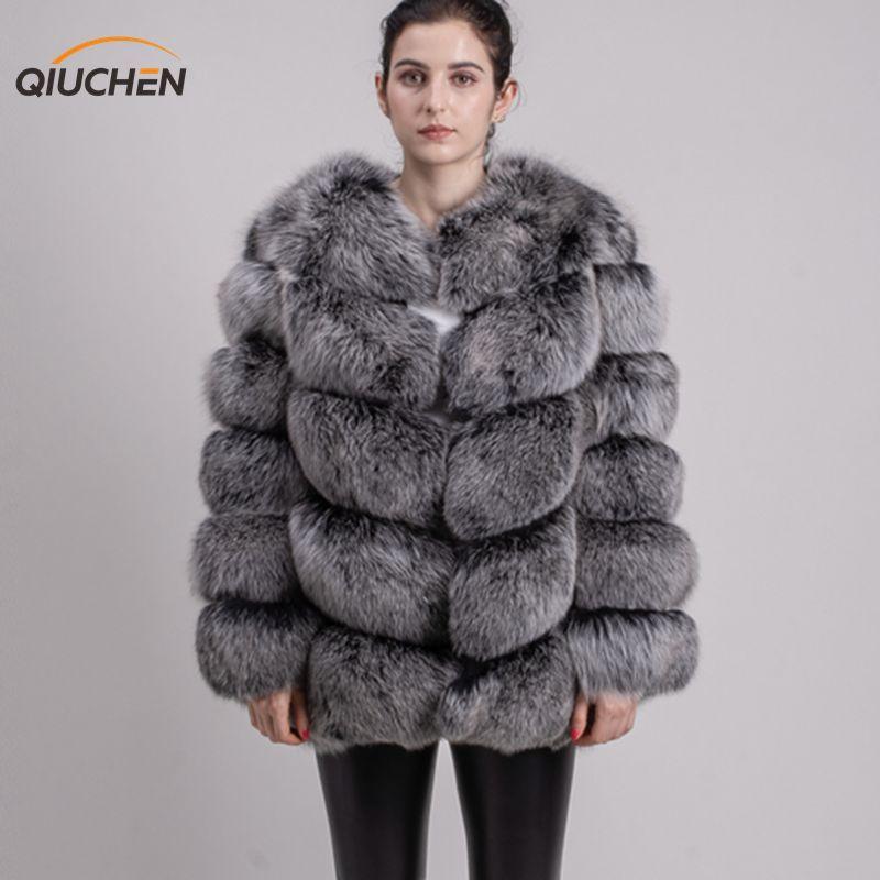 QIUCHEN PJ8066 hohe qualität echt fox pelz mantel wihter warme dicken fuchs pelz jacke echte pelz short mantel langen ärmeln frauen winter