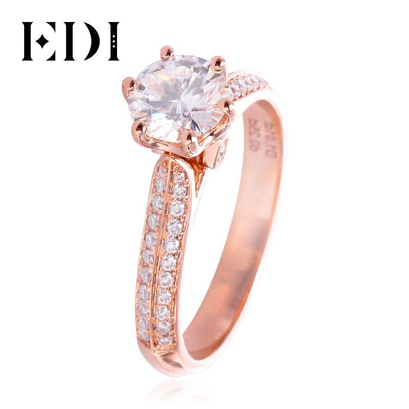 EDI Üppige 14k 585 Rose Gold Lab Grown Diamant Engagement Ring 1CT Für Immer Klassische Moissanites Hochzeit Schmuck Für Frauen geschenk