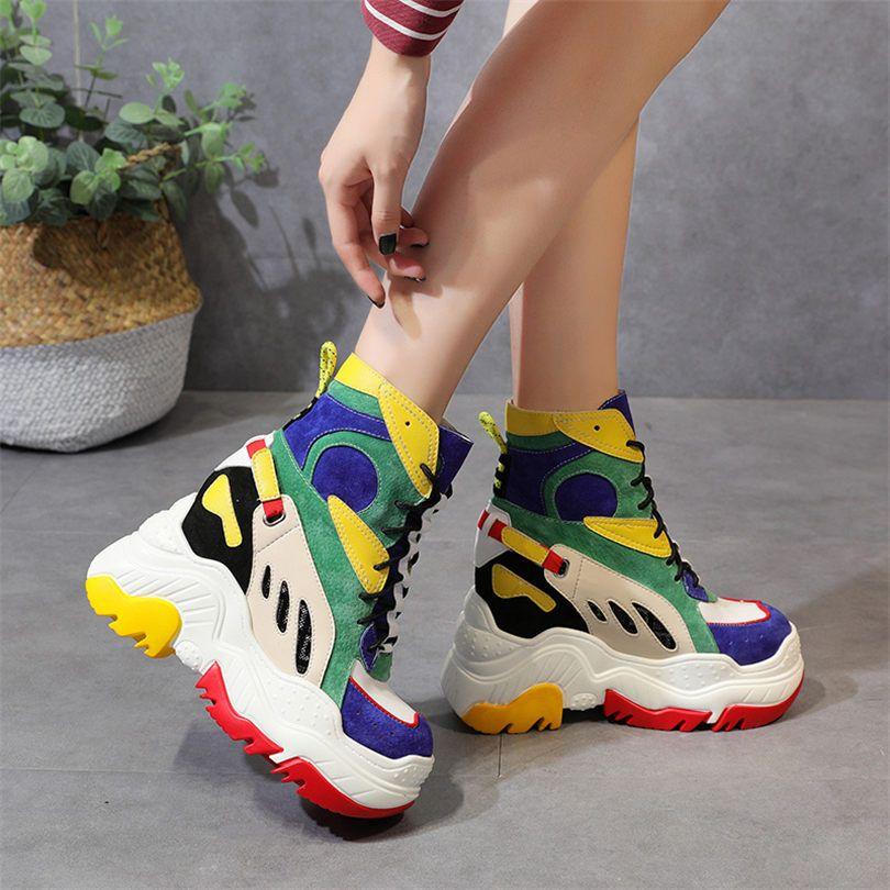 Multi-farbe Frauen Leder Sneaker Mode Tennis Trainer Plattform Keil High Heel Stiefeletten Casual Schuhe Punk Party