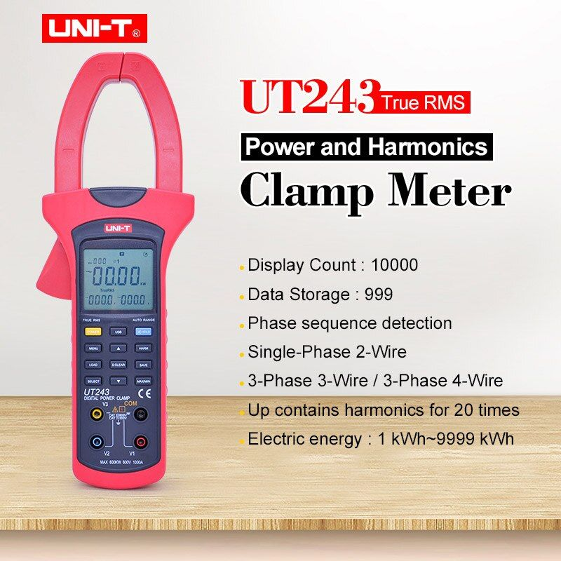 UNI-T UT243 Power und Oberwellen Clamp Meter Ture RMS Daten halten Digitale multimeter AC voltmeter Amperemeter 40 ~ 80Hz frequenz tester